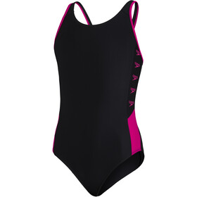 speedo Boom Logo Splice Muscleback Swimsuit Girls, noir